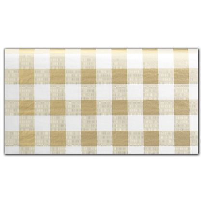 Classy Gold Plaid Tissue Paper, 20 x 30""