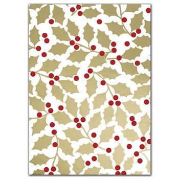 Elegant Holly Tissue Paper, 20 x 30