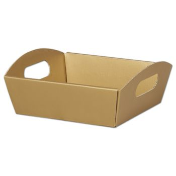 Metallic Gold Presentation Tray Boxes, 8 1/4x7 1/2x2 1/2