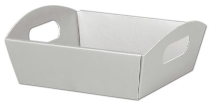 Metallic Silver Presentation Tray Boxes, 8 1/4x7 1/2x2 1/2