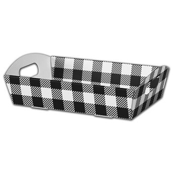 Black & White Plaid Presentation Tray Boxes, Large