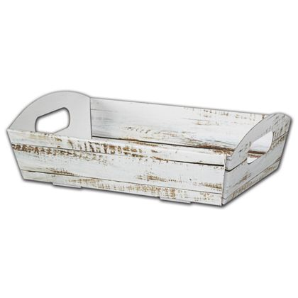 Distressed White Wood Presentation Tray Boxes, Large