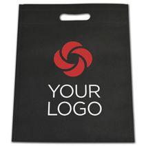 "Printed Black Non-Woven Tuff Seal Merchandise Bags, 10x12"""