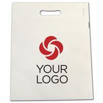 "Printed White Non-Woven Tuff Seal Merchandise Bags, 10x12"""