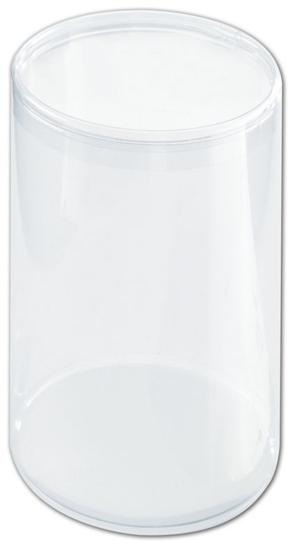 """Clear Boxes, Round with Lid, 3 1/2 x 5 1/2"""""""