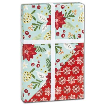Trendy Floral Reversible Gift Wrap, 24