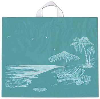 Beach Reusable Print Bags, 19 1/2 x 16