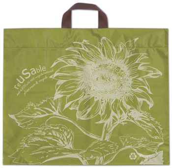 Sunflower Cactus Green Reusable Print Bags, 19 1/2x16+7 BG