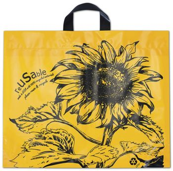 Sunflower Marigold Reusable Print Bags, 19 1/2x16+7 BG