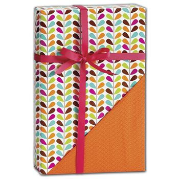 Geo Leaves Reversible Gift Wrap, 24