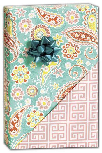 Springtime Paisley Reversible Gift Wrap, 24