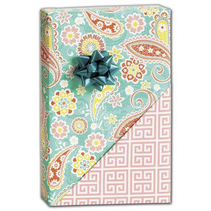 "Springtime Paisley Reversible Gift Wrap, 24"" x 417'"