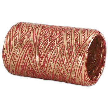 Upscale Raffia Red and Gold Ribbon, 5 MM x 50 Meters