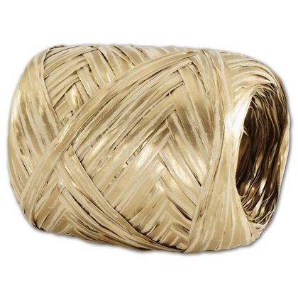Upscale Raffia Gold and White Ribbon, 5 MM x 50 Meters