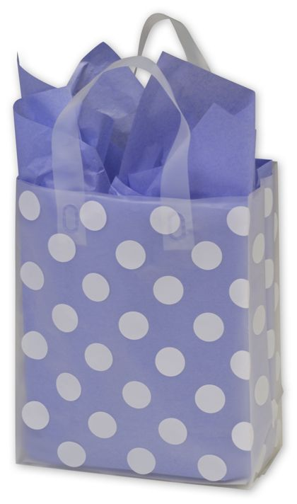 White Dots Resale Frosted Gift Bags, 8 x 4 x 10""