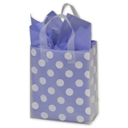 White Dots Resale Frosted Gift Bags, 8 x 4 x 10