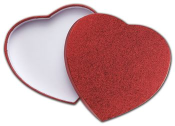 Red Sparkle Heart Candy Boxes, 6 3/8 x 5 1/2 x 1 1/8