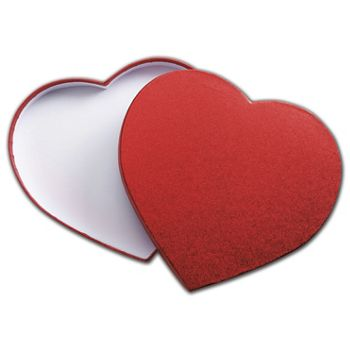 Red Sparkle Heart Candy Boxes, 9 1/8 x 7 1/2 x 1 1/8