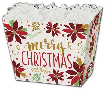 Christmas Poinsettia Angled Basket Boxes, 6 3/4x4 1/2x5
