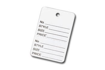 White Printed Garment Tags, 1 7/8 x 1 1/4