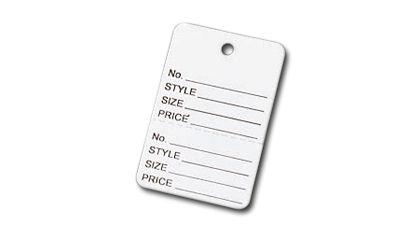 "White Printed Garment Tags, 1 7/8 x 1 1/4"""