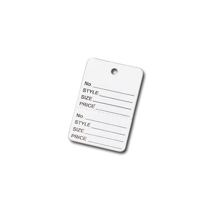 White Printed Garment Tags, 1 7/8 x 1 1/4""