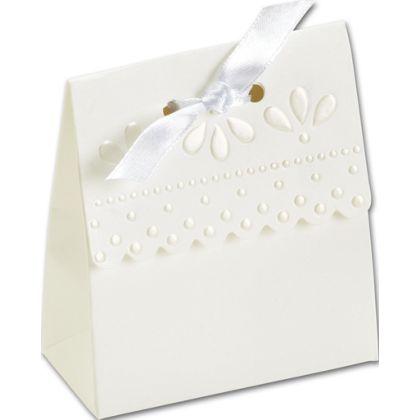 """White Scalloped Favor Boxes, 3 x 1 3/8 x 3 3/4"""""""