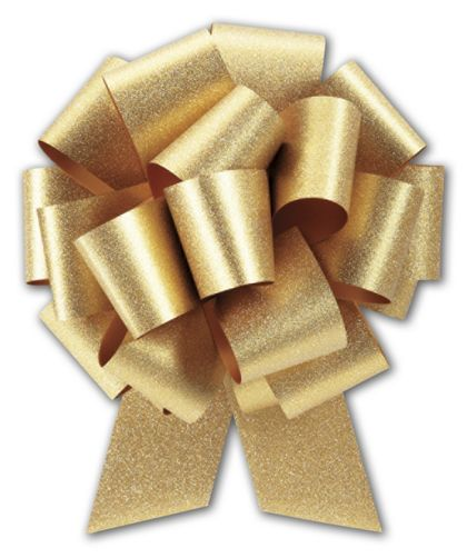 "Gold Super Glitter Pull Bows, 5 1/2"" Bow, 20 Loops"