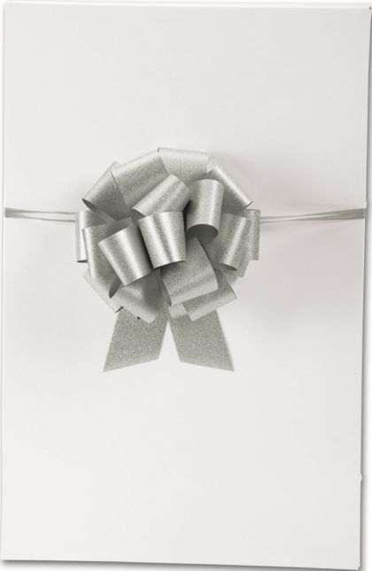 "Silver Super Glitter Pull Bows, 5 1/2"" Bow, 20 Loops"
