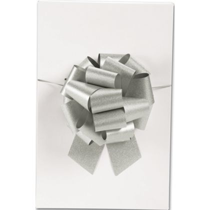 "Silver Super Glitter Pull Bows, 8"" Bow, 20 Loops"