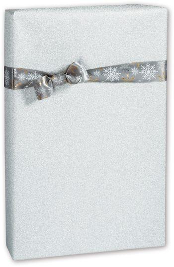 Silver Glitter Gift Wrap, 24
