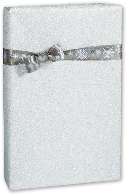"Silver Glitter Gift Wrap, 24"" x 100'"