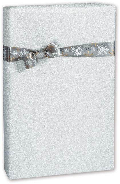 "Silver Glitter Gift Wrap, 24"" x 417'"