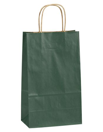 Forest Green Double Bottle Shoppers, 8x4 3/4x13 5/8