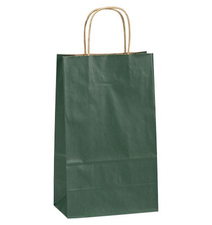 Forest Green Double Bottle Shoppers, 8x4 3/4x13 5/8""