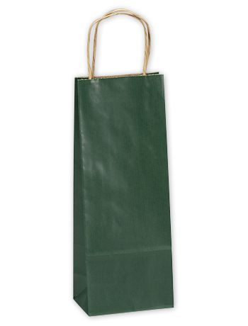 Forest Green Single Bottle Shoppers, 5 1/2x3 1/4x12 1/2
