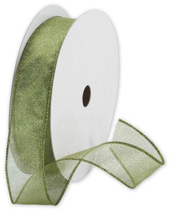 Holiday Shimmer Green Ribbon, 1 1/2