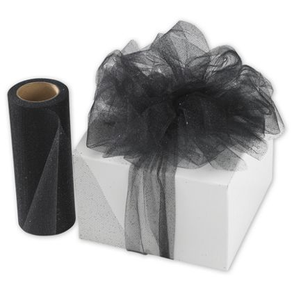 "Black Sparkle Tulle, 6"" x 25 Yds"