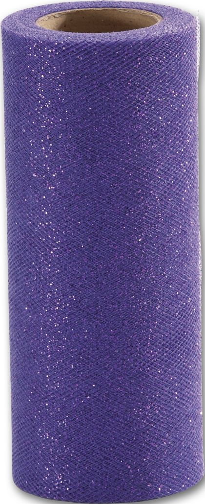 "Purple Sparkle Tulle, 6"" x 25 Yds"