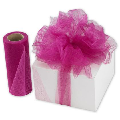 "Hot Pink Sparkle Tulle, 6"" x 25 Yds"