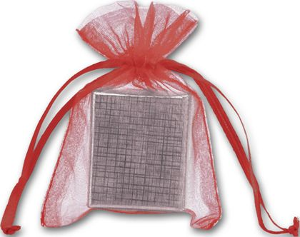 """Red Organdy Bags, 3 x 4"""""""