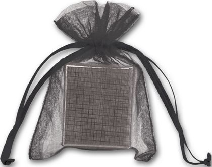 Black Organdy Bags, 3 x 4""