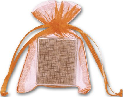 "Orange Organdy Bags, 3 x 4"""