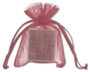 Burgundy Organdy Bags, 3 x 4