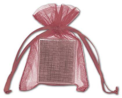 "Burgundy Organdy Bags, 3 x 4"""