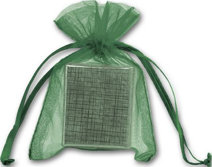 Green Organdy Bags, 3 x 4""