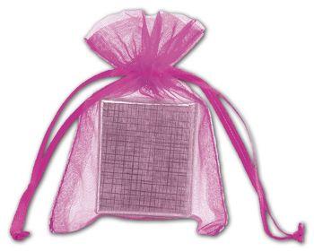 Fuchsia Organdy Bags, 3 x 4