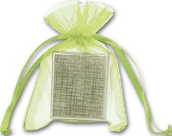 Lime Organdy Bags, 3 x 4