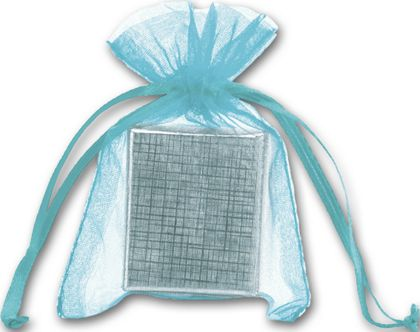 Teal Organdy Bags, 3 x 4""