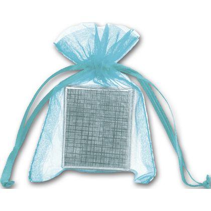 """Teal Organdy Bags, 3 x 4"""""""